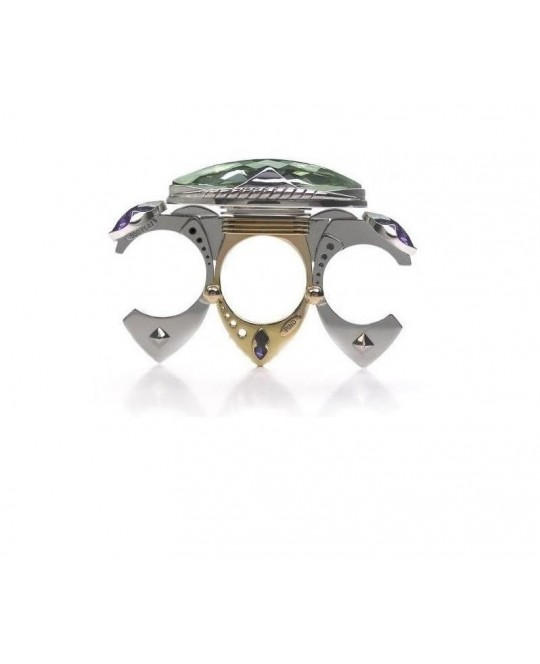 TRILOGY RING WITH PRASIOLITE & AMETHYSTS BY CLAUDIO PINO