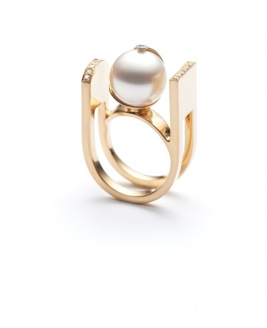 EQUILIBRIO VI RING WITH A SOUTH SEA PEARL, DIAMONDS & SAPPHIRE BY SERAFINO